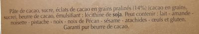 Chocolat noir aux eclats feves de cacao - Ingredients - fr