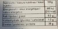Viande séchée de boeuf - Nutrition facts - fr