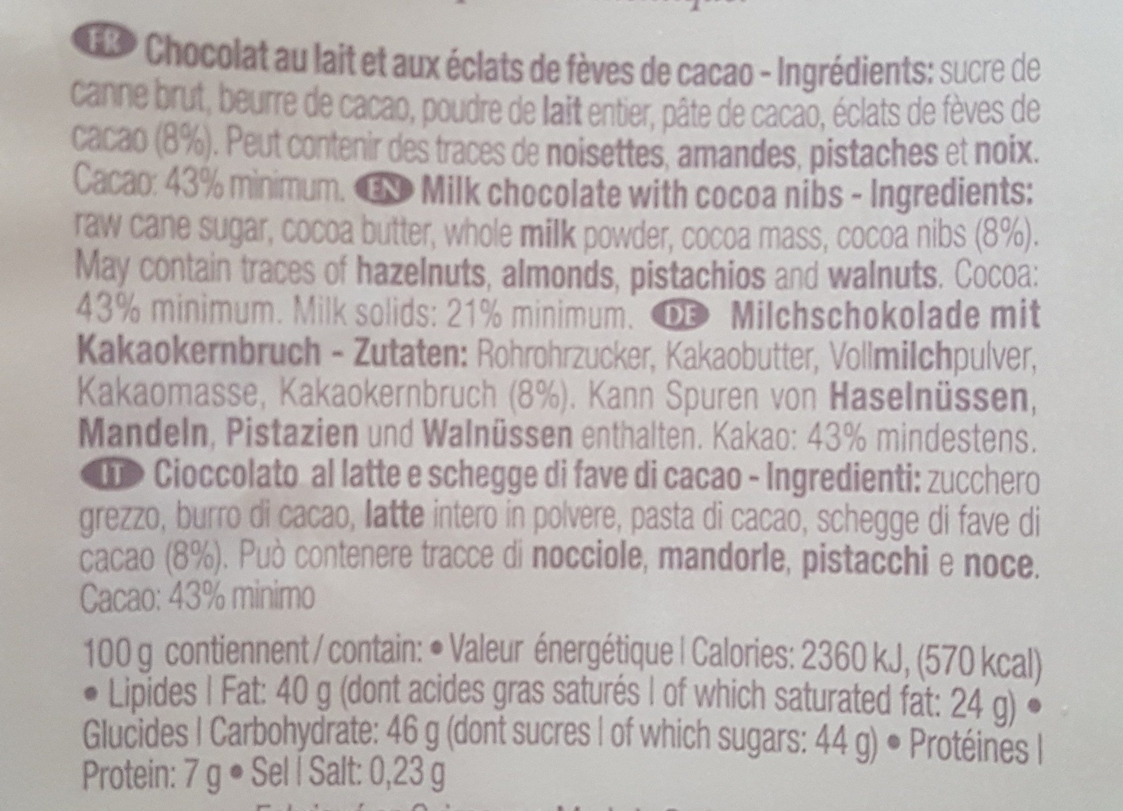 Favarger Milk Bar With Cocoa Nibs - Ingrédients