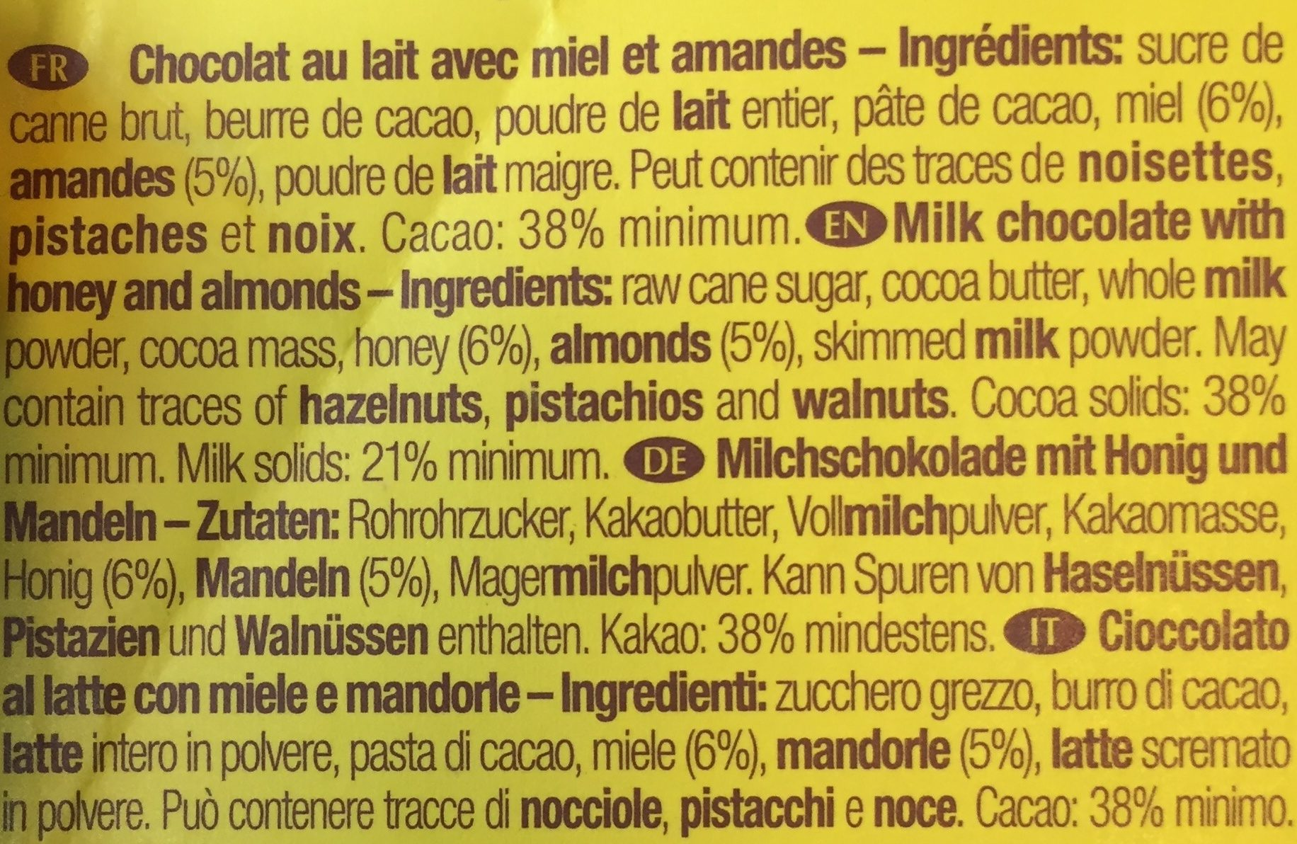 Favarger Milk Bar With Honey and Almonds - Ingredients - fr
