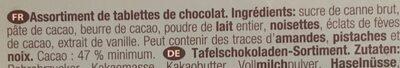 Assortiment de 16 Mini-Tablettes de Chocolat - Ingrédients - fr