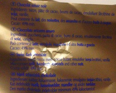 Chocolat Lindt - Ingredients