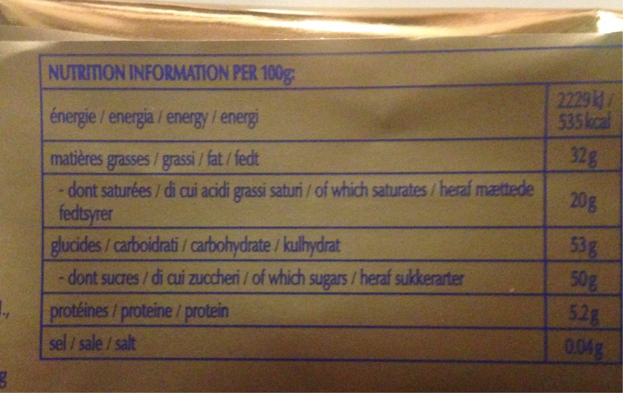 Chocolat Lindt - Nutrition facts