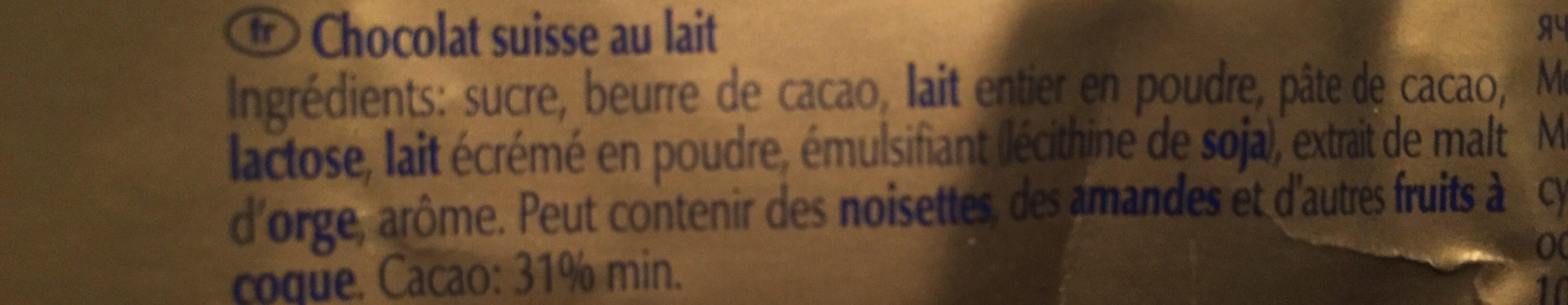 Swiss premium chocolate - Extra au lait - Ingredienti - fr