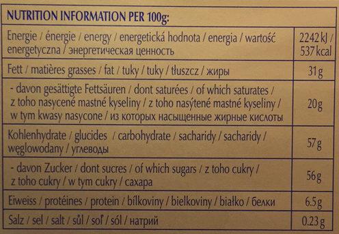 Swiss premium chocolate - Extra au lait - Valori nutrizionali - fr