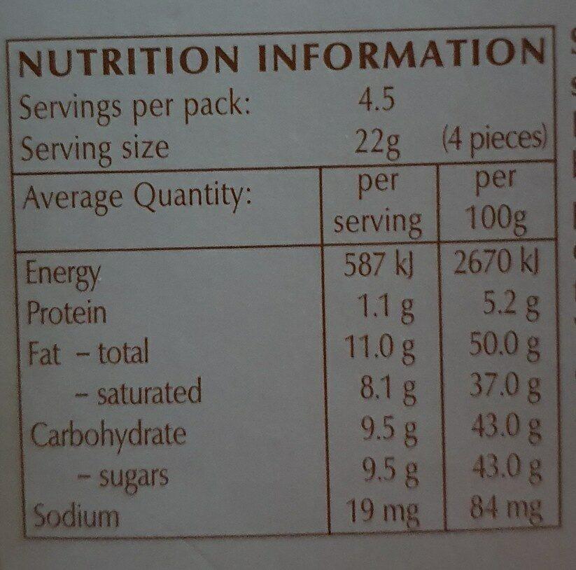 Chocolat Lindor White - Informations nutritionnelles - en