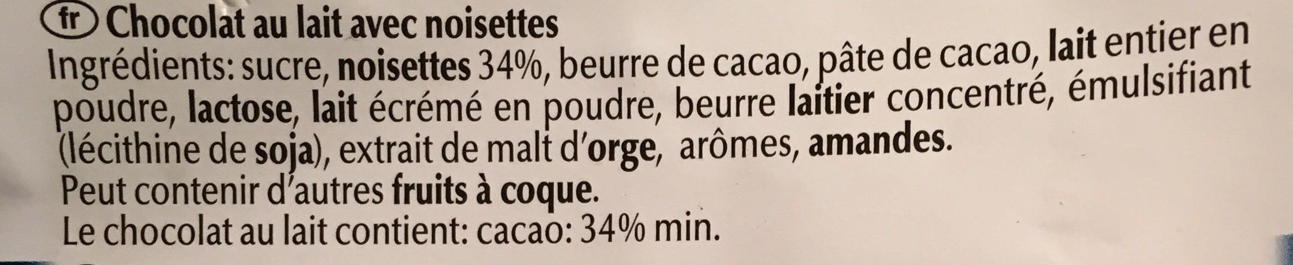 Les grandes - Chocolat au lait avec noisettes - Ingredienti - fr