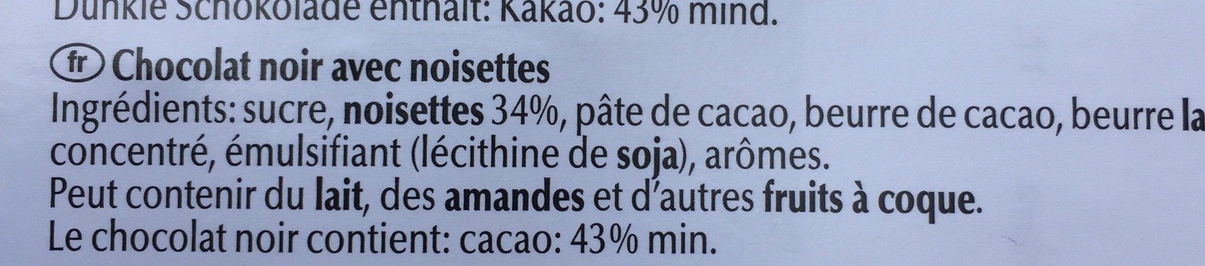 Les grandes noir 34% noisettes - Ingrédients - fr