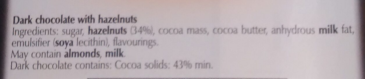 Lindt Chocolate Bar Dark Hazelnut - Ingredients - en