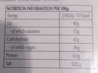 Lindt Chocolate Bar Dark Hazelnut - Nutrition facts - en