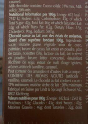 Chocolat Lindor Hazelnut Lindt (100G) - Nutrition facts