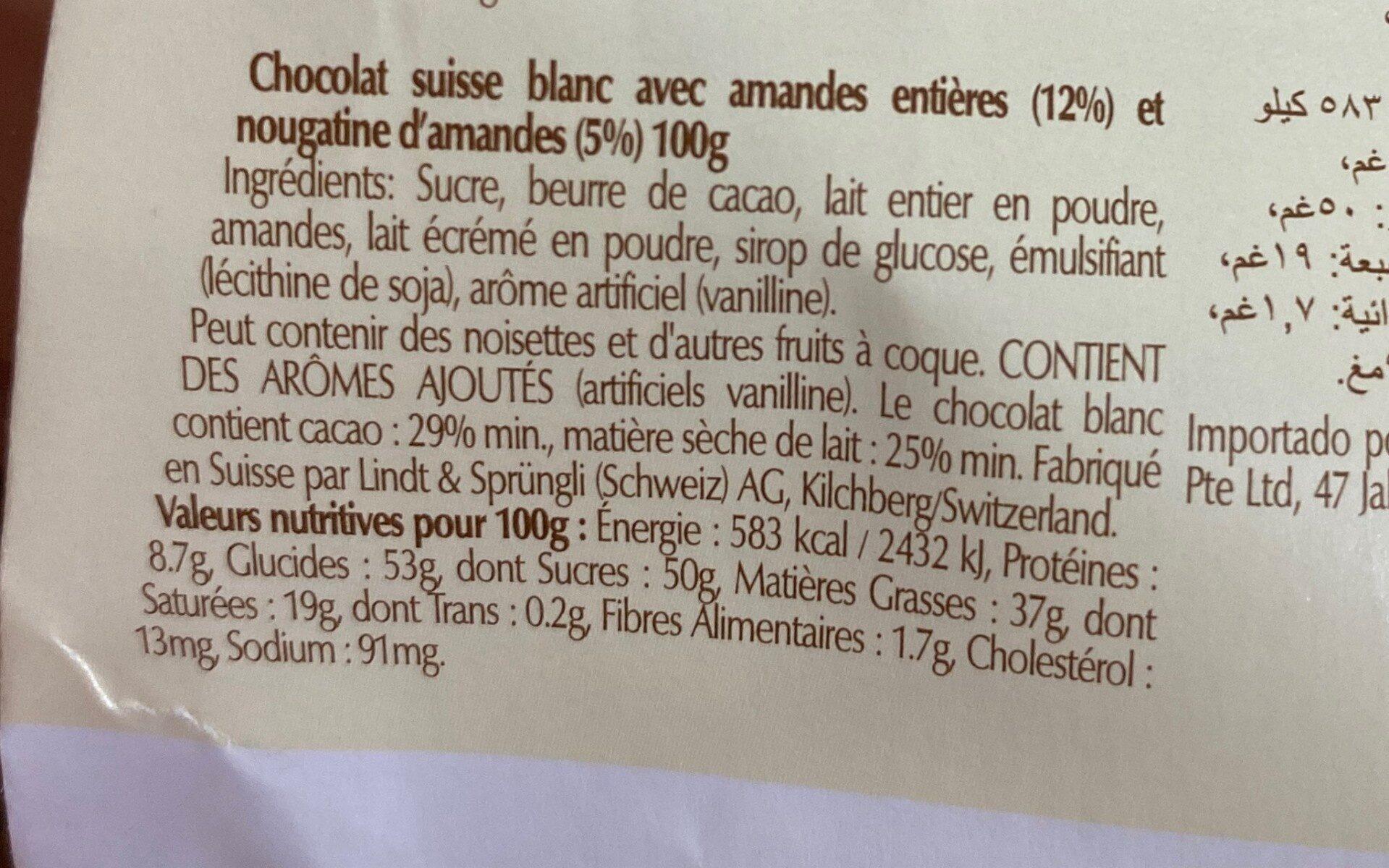 Barra De Chocolate Lindt Branco Com Amêndoas - Nutrition facts - fr