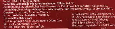 Lindt Lindor Crystal Heart Chocolate - Ingrédients - fr