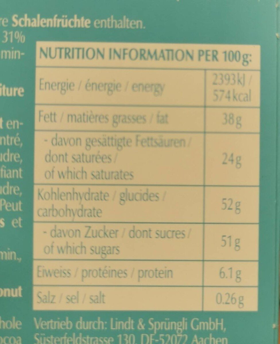Chocletti - Nutrition facts - fr