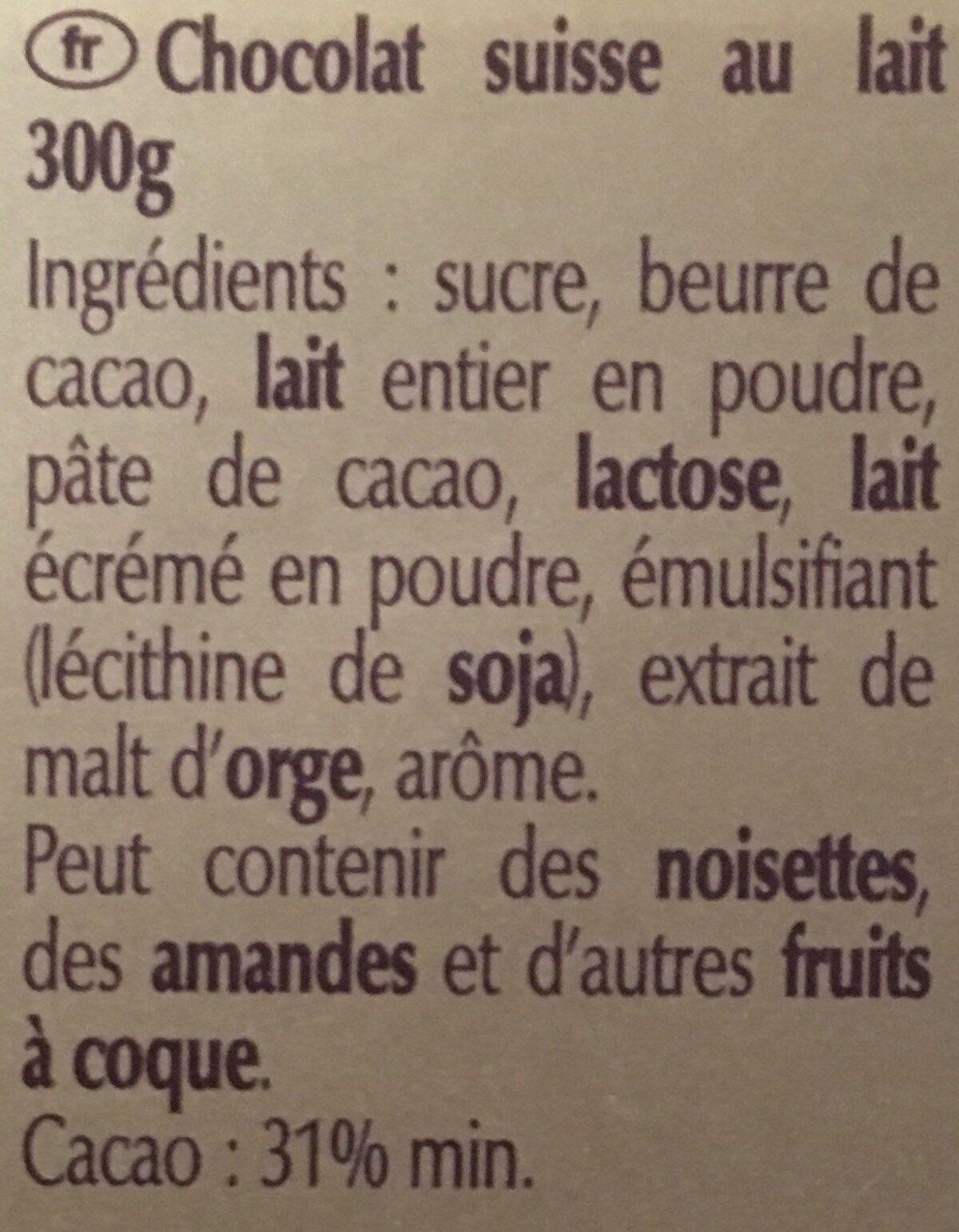 Swiss Premium Chocolate - Ingredients