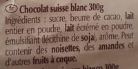 Chocolat blanc Swiss Premium Chocolate - المكونات - fr