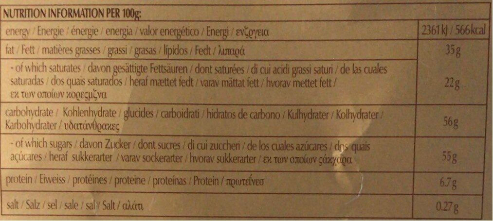Chocolat blanc Swiss Premium Chocolate - حقائق غذائية - fr