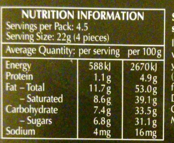 Lindor Extra Dark - Nutrition facts