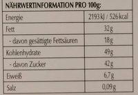 Excellence Orange Intense - Nutrition facts - de
