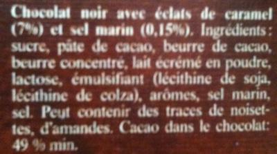 Passion Chocolat Caramel & Fleur de Sel - Ingredients - fr