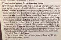Pralinés Du Confiseur - Assortiment de bonbons de chocolats suisses fourrés - Ingrédients