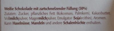Lindt Lindor Weiß - Ingredients - fr