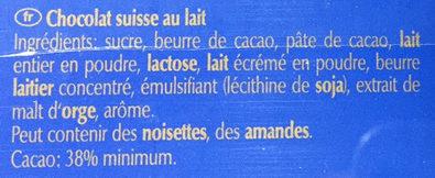 Tablettes ultra fines au chocolat au lait extra fin - Ingrédients - fr