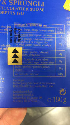 Tablettes ultra fines au chocolat au lait extra fin - Informations nutritionnelles - fr