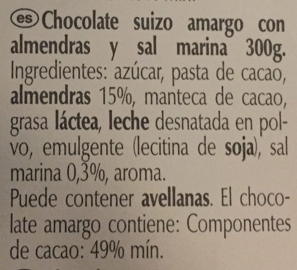 Dark Sea Salt Almond - Ingredientes - es