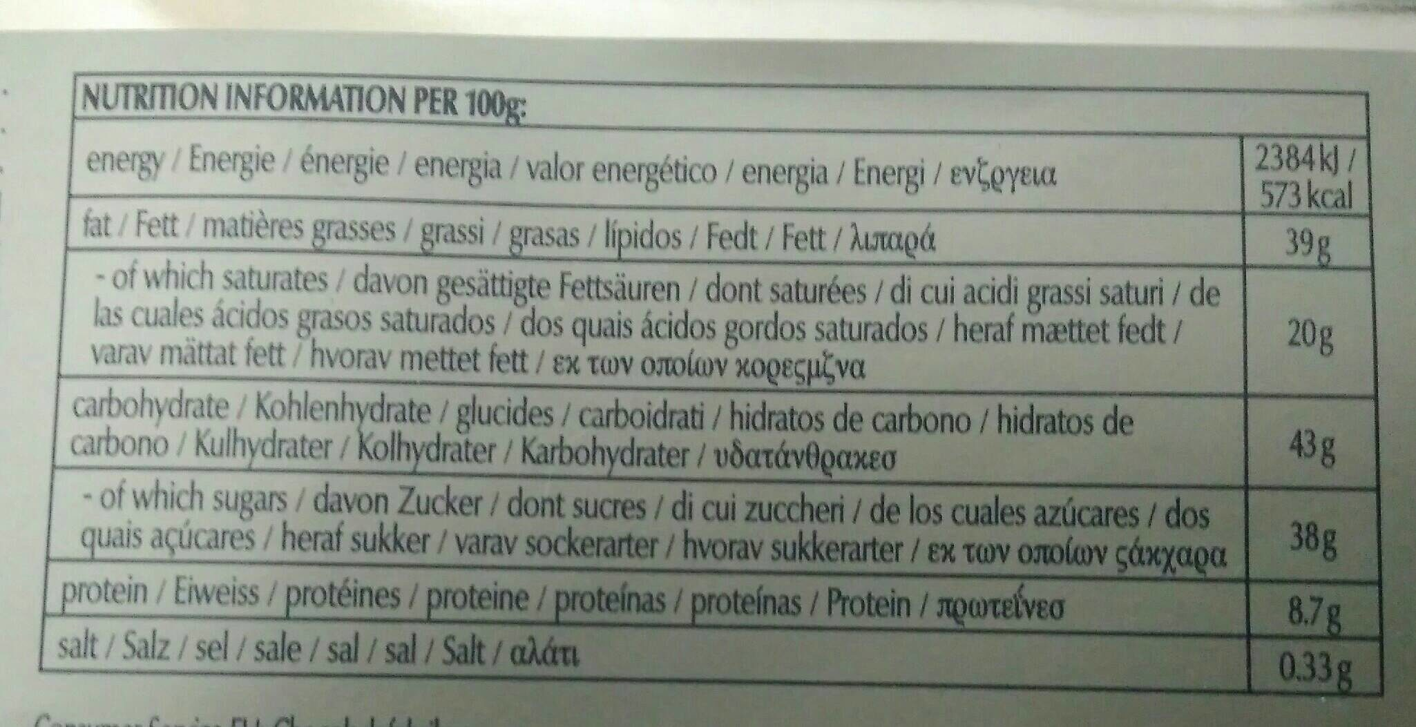 Dark Sea Salt Almond - Información nutricional - fr