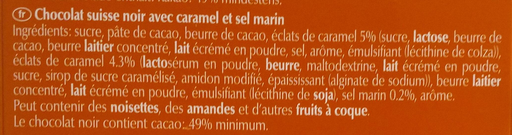 Grand Plaisir Caramel & Fleur De Sel Noir - Ingredients - fr