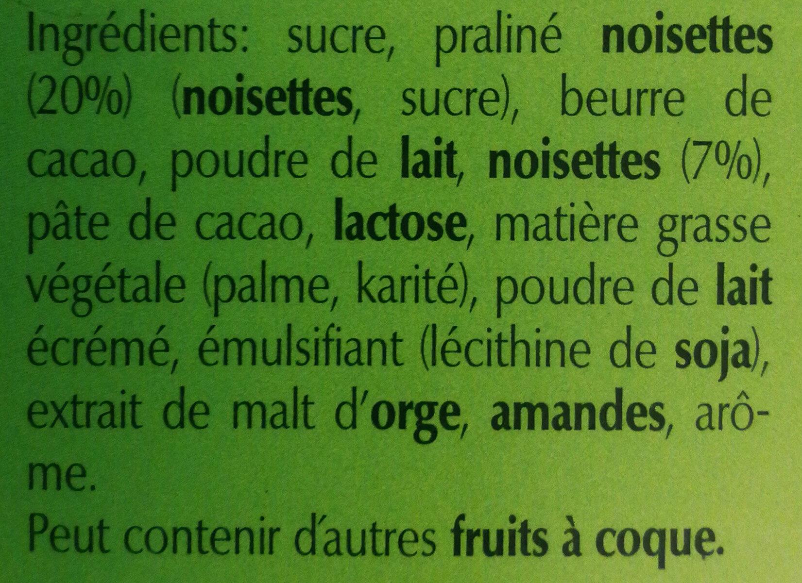 Chocoletti, lait praliné noisettes - Ingredients