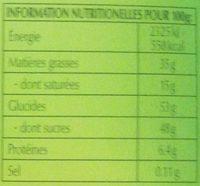 Chocoletti, lait praliné noisettes - Informations nutritionnelles