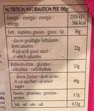 Connaisseurs - Informations nutritionnelles