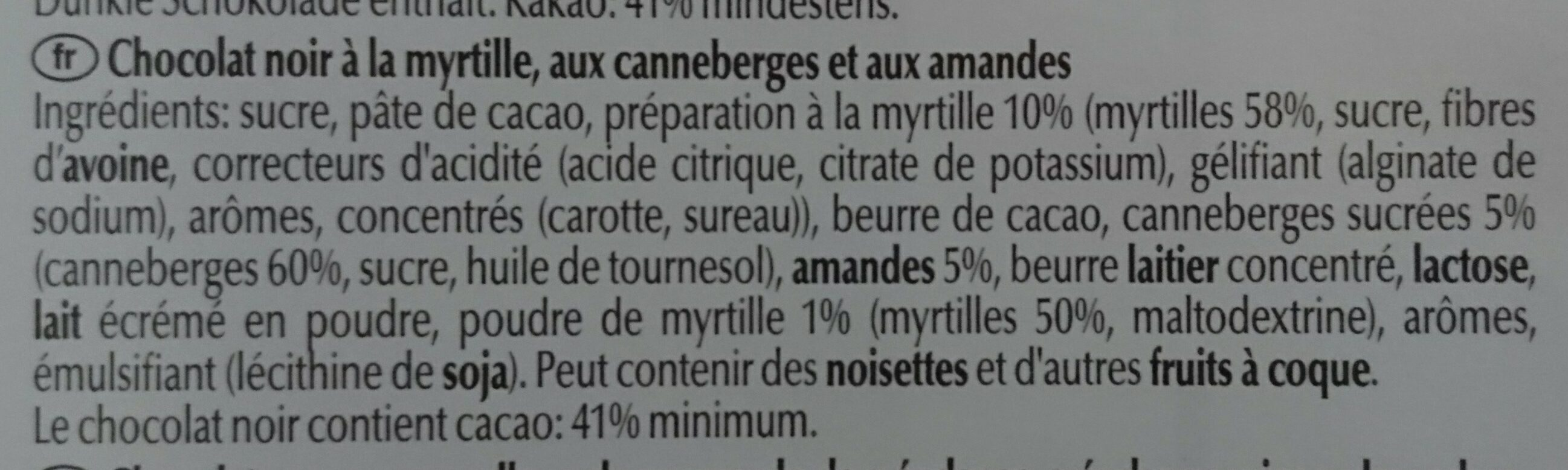 Lindt Les Grandes Myrtille - Ingredients