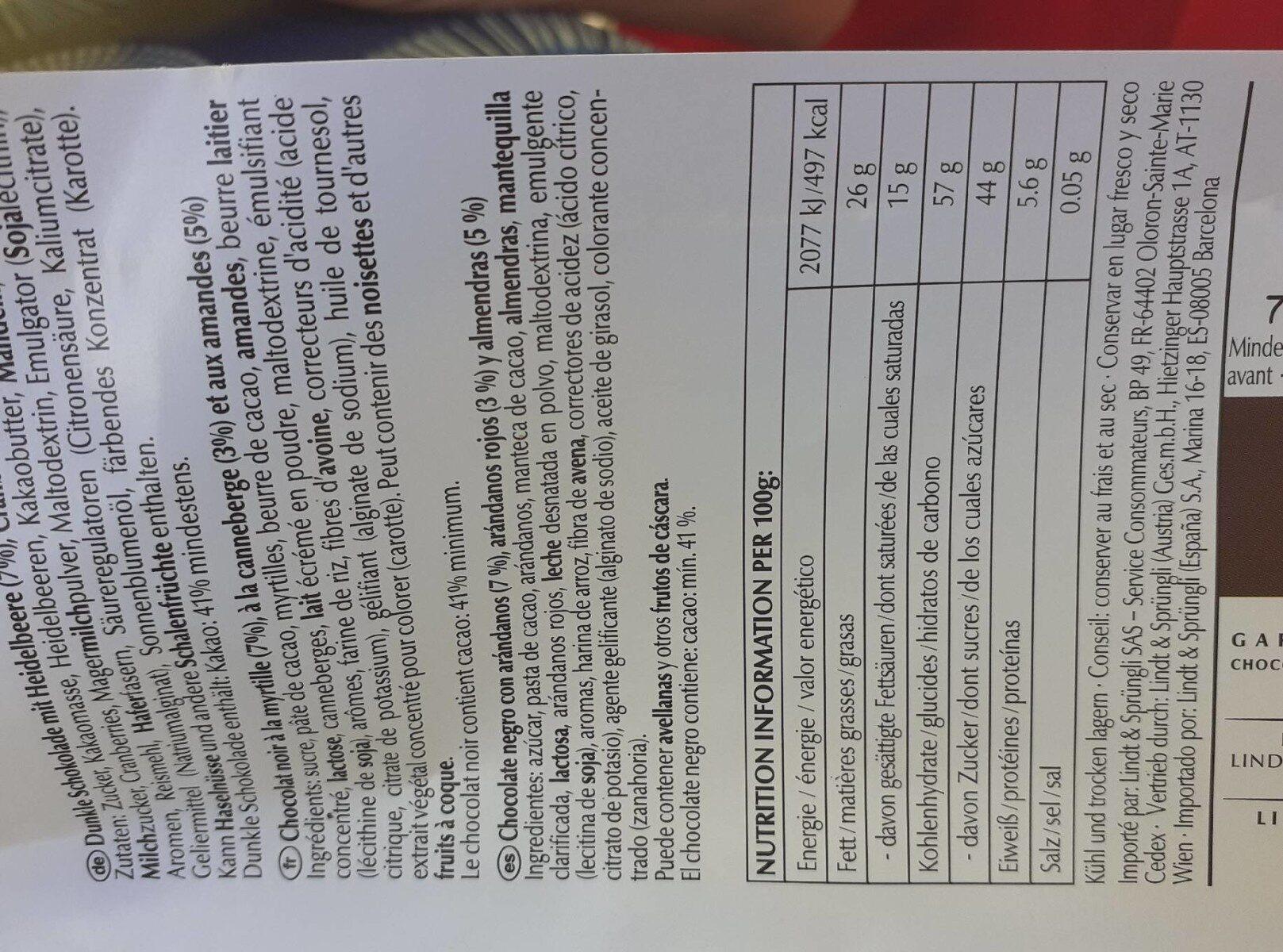 Lindt Les Grandes Myrtille - Información nutricional - fr