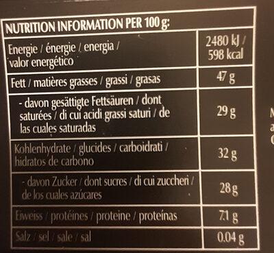 Framboise noisettes - Informazioni nutrizionali - fr