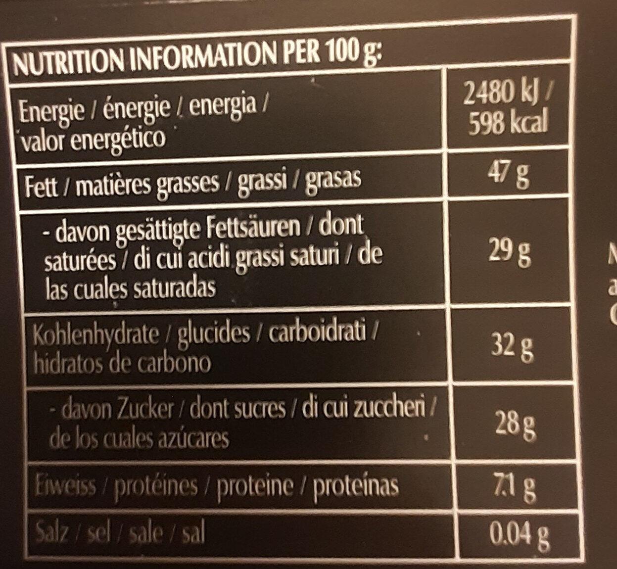 Framboise noisette 70% cacao - Valori nutrizionali - it