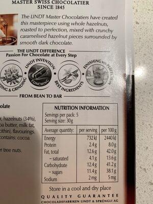 34% hazelnut dark chocolate - Ingrédients - en