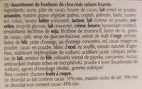 Lindt Connaisseurs - Ingrédients - fr