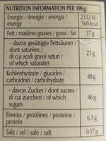 Lindt Connaisseurs - Informations nutritionnelles - fr