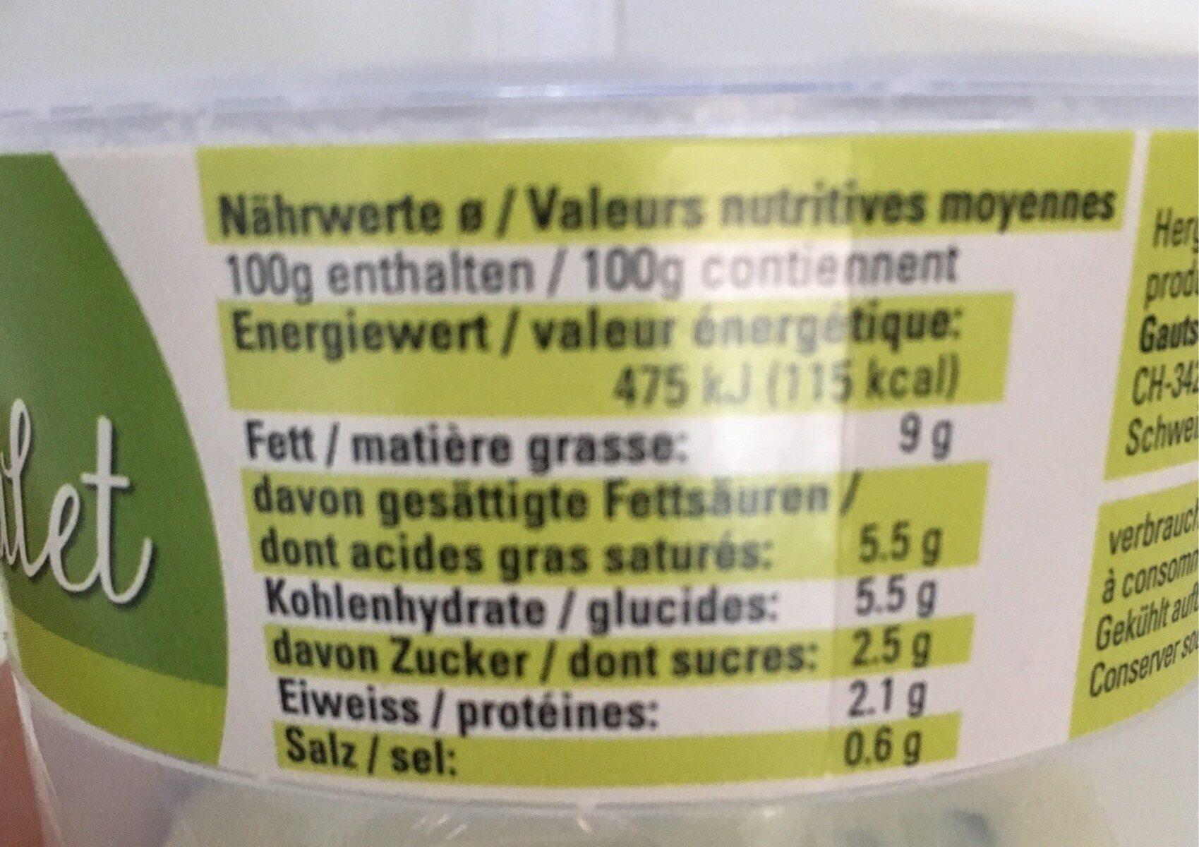 Soupe de Chalet - Voedingswaarden - fr