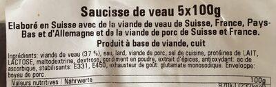 Saucisse de veau kalbsbratwurst - Ingrediënten - fr
