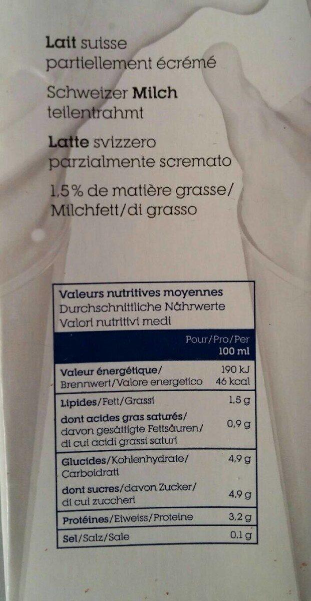 LAit équitable UHT 1,5 mg 1 L - Valori nutrizionali - fr