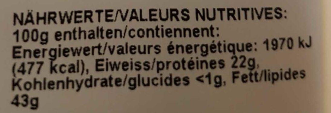Gendarme paysan - Valori nutrizionali - fr