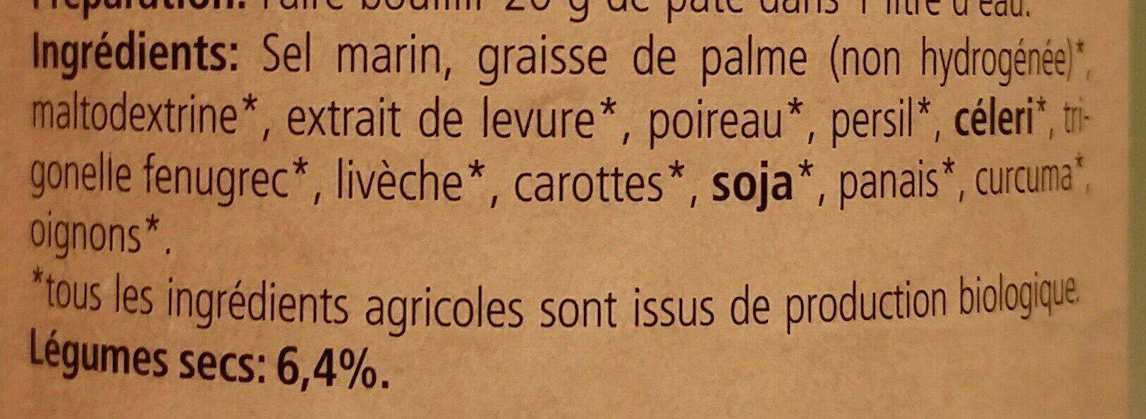 Bouillon Vegetal Legume Pate SG 400G - Ingrédients - fr