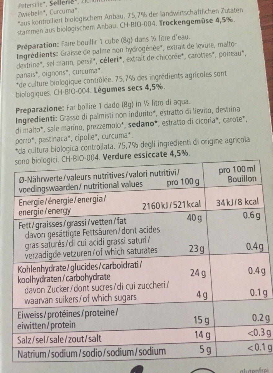 Bouillon de legumes - Voedingswaarden - fr
