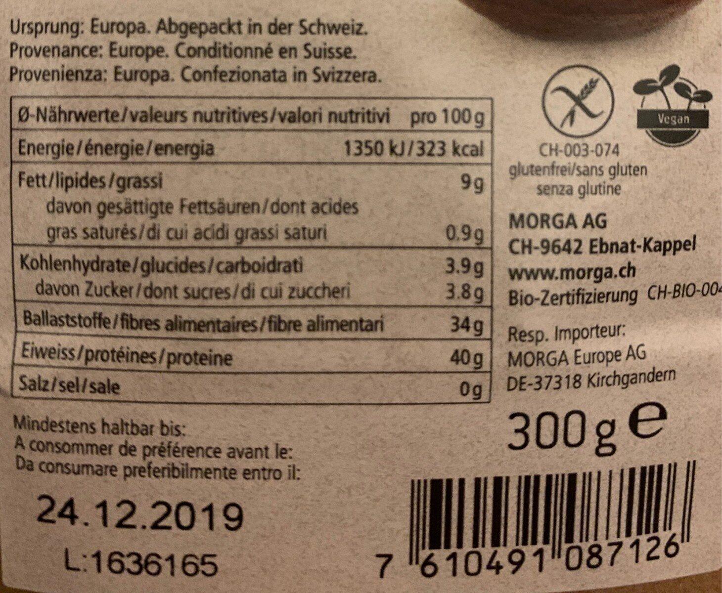 Farine de lin Bio - Nutrition facts - fr