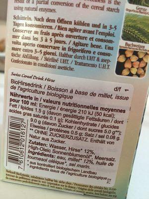Boisson Au Millet Bio Swiss Cereal-drink - - Soyana - Ingrédients