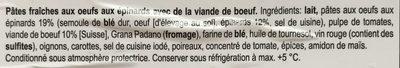 Lasagne frais aux boeuf CH - Ingrédients - fr